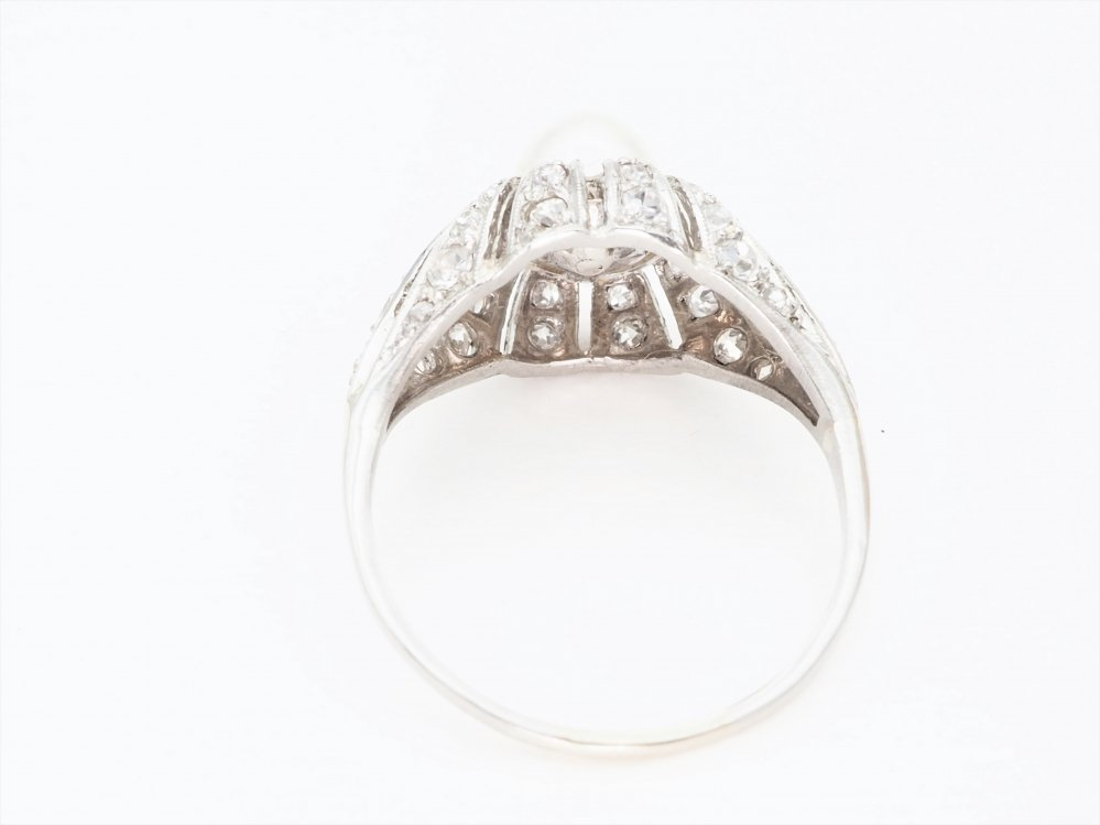Antieke ringen - Art Deco ring platina parel diamant
