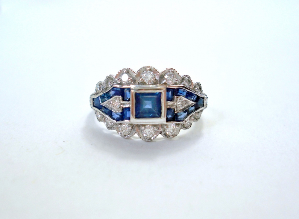art deco ring saffier briljant 4