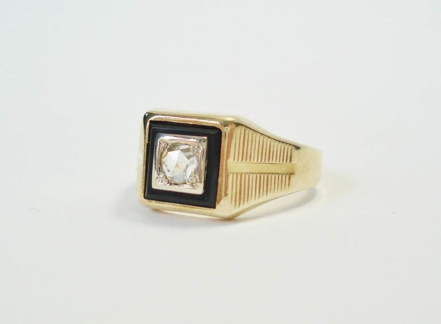ring onyx diamant occasion
