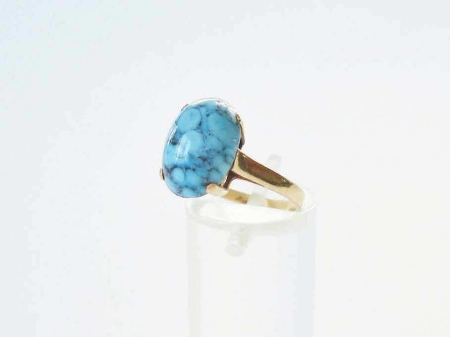 ring turquoise steen geelgoud