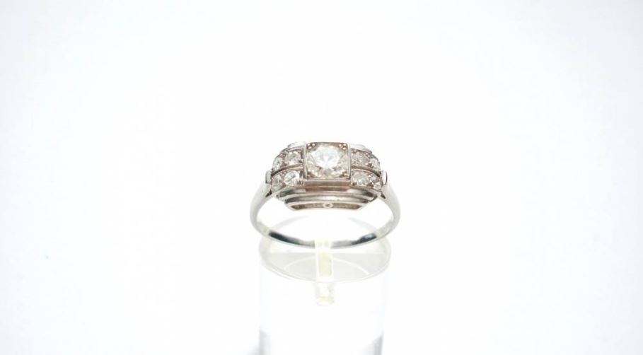 ring witgoud briljant art deco