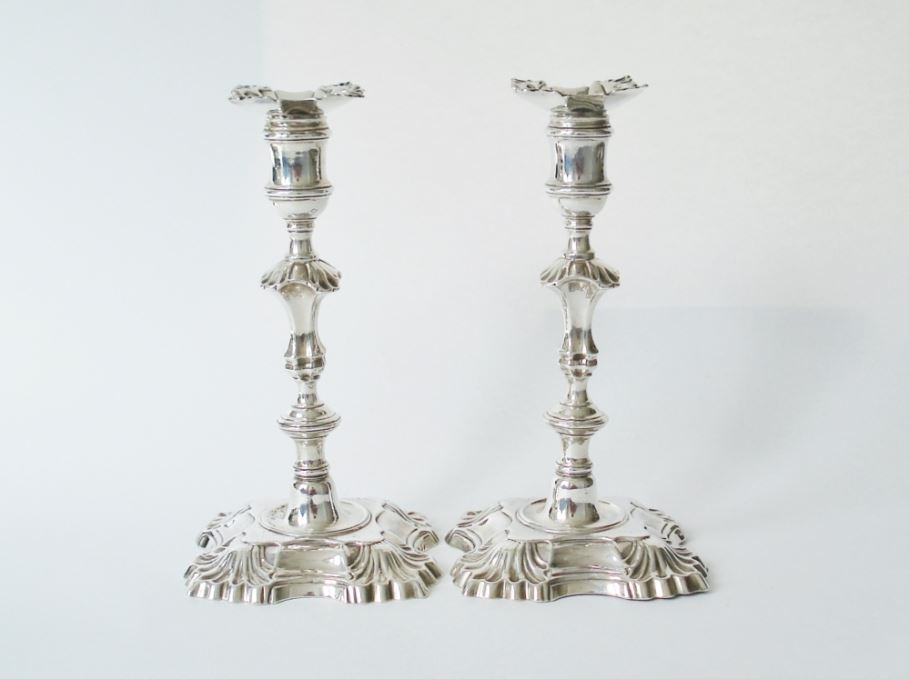 william gould george II silver candlesticks