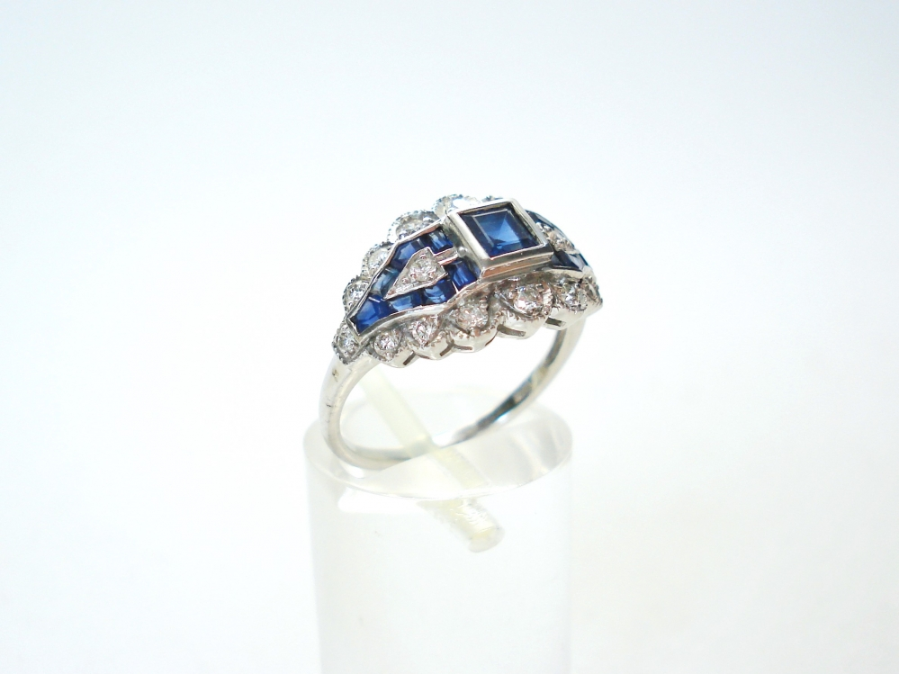witgouden ring briljant saffier art deco