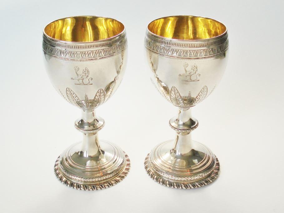 Engels Antiek Zilver.Een Zeldzaam Set Zilveren Bekers 18e Eeuw Engels George Iii
