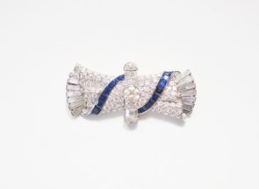 Art Deco broche briljant saffier