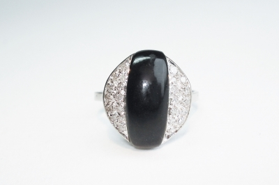 witgouden ring onyx diamant